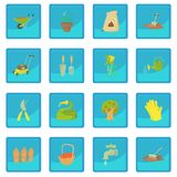 Gardener tools icon blue app. Gardener tools set. Cartoon illustration of 16 gardener tools vector icon blue app for any design vector illustration Stock Photo