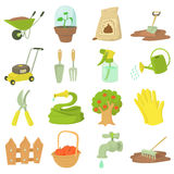 Gardener tools icons set, cartoon style Royalty Free Stock Images