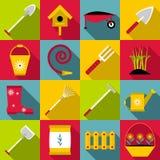 Gardener tools icons set, flat style Stock Image