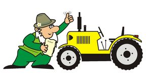Gardener and tractor. Seller enters into a contract to purchase a tractor. Vector icon. Funny illustration Royalty Free Stock Photography