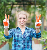 Gardener with v sign Royalty Free Stock Photos
