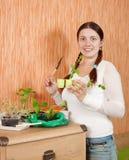 Gardener with various seedlings Stock Photo