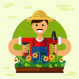 Gardener. Vector flat style illustration of smiling gardener with mustache in hat, standing with sprayer and scoop. Flowerpot with flowers. Gardening and Stock Photos