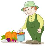 Gardener with vegetables Royalty Free Stock Images