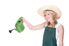 Gardener with watering can Stock Photos