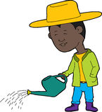 Gardener with Watering Can. Cartoon of cute farmer and watering can with drops of water Royalty Free Stock Photography