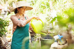 Gardener with watering can Stock Photography