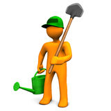 Gardener With Watering Can And Spade. On the white background Stock Photo