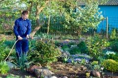 Gardener watering flowers Royalty Free Stock Photos
