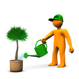 Gardener Watering Palm. Orange cartoon character watering a plant on the white background Stock Photography