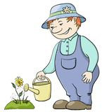 Gardener waters a flower. Man gardener waters a bed with a flower from a watering can Stock Photo