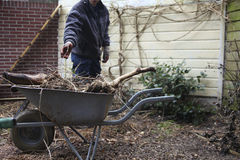 Gardener with wheelbarrow Stock Photo