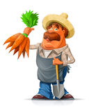 Gardener With Carrot And Shovel Royalty Free Stock Photos