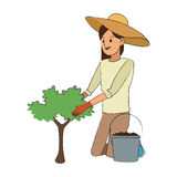 Gardener woman icon Royalty Free Stock Photography