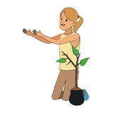 Gardener woman icon Stock Image