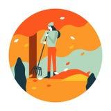 Gardener woman raking up autumn leaves in garden. Autumn scenery and activity. flat icon design. illustration vector stock illustration