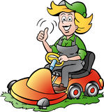 Gardener Woman riding on a Lawnmower Stock Photo