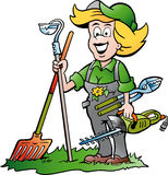 Gardener Woman standing with he Garden Tools Stock Photo