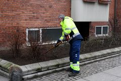 GARDENER WORKING FOR SPRINGS IN KASTRUP COPENHAGEN stock photo