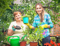 Gardeners active mother and daughter with pots of flowers, water Stock Images