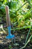 Gardeners hand fork Royalty Free Stock Photos
