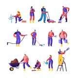Gardeners Male and Female Characters Growing and Caring of Plants Set, Gardening People Watering, Planting, Raking Trees in Garden. Or Greenhouse, Hobby stock illustration