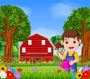 Gardeners Man with holding a flower and watering can. Illustration of Gardeners Man with holding a flower and watering can Stock Photos