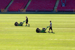Gardeners at Parken stadium Royalty Free Stock Photos
