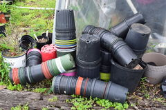 Gardeners pot collection. Gardeners growing pots collection and pile royalty free stock photos