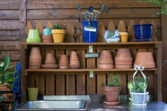 Gardeners Potting Table. A well-kept outdoor gardeners potting table, ready for you to work Royalty Free Stock Photography