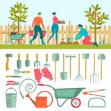 Gardeners with tools for working in the garden. People doing garden activities. Set of individual elements Royalty Free Stock Image