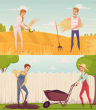 Gardeners At Work Compositions. Two gardener farmer cartoon people compositions set with funny cartoon characters doing field and garden work vector illustration Royalty Free Stock Photo