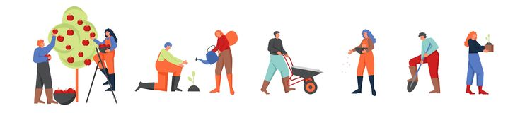 Free Gardeners Working In Garden, Vector Flat Isolated Illustration Royalty Free Stock Photography - 152629577