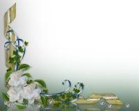 Gardenias de la frontera de la invitación de la boda Imagen de archivo libre de regalías