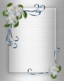 Gardenias del bordo dell'invito di cerimonia nuziale Fotografia Stock Libera da Diritti