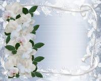 Gardenias e invitación de la boda del cordón Imagen de archivo libre de regalías