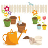 Gardening. Various garden supplies, flowers and birds Stock Photography