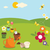 Gardening. Various garden supplies, flowers, bee and butterfly