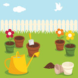 Gardening. Various garden supplies, flowers and birds Royalty Free Stock Photography