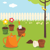 Gardening. Various garden supplies, flowers and birds Royalty Free Stock Image
