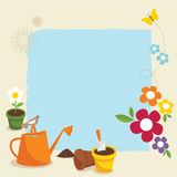 Gardening. Various garden supplies, flowers, birds and butterfly Stock Photos
