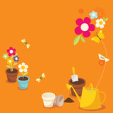 Gardening. Various garden supplies, flowers, birds, bee and butterfly Royalty Free Stock Photo