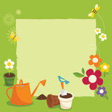 Gardening. Various garden supplies, flowers, birds, bee and butterfly Stock Photo