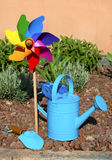 Gardening. Garden tools, watering can and shovel Stock Image