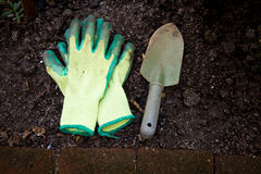 Gardening. Image of gardening tools from above Royalty Free Stock Photography