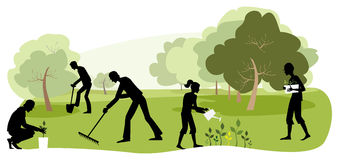 Gardening. Vector illustration of people working in the garden Vector Illustration