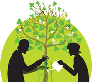 Gardening. Silhouettes of two gardening people stock illustration