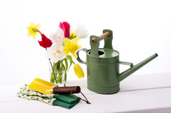Gardening. Colorful tulips , globes, shovel and watering can Royalty Free Stock Photos