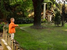 Gardening. The little boy waters a garden from a hose Royalty Free Stock Image