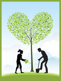 Gardening. Illustration of gardeners and a heart shape tree Stock Photography